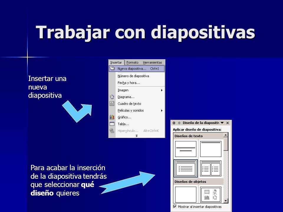 Trabajar con diapositivas Insertar una nueva diapositiva Para acabar la inserción de la diapositiva tendrás que seleccionar qué diseño quieres