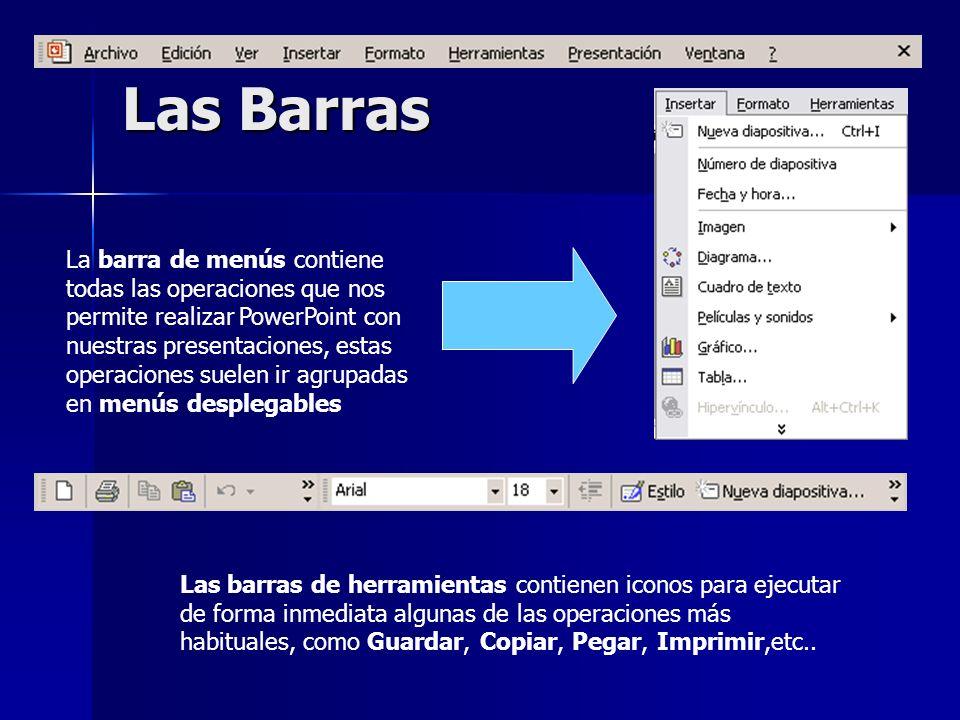 Las Barras La barra de menús contiene todas las operaciones que nos permite realizar PowerPoint con nuestras presentaciones, estas operaciones suelen