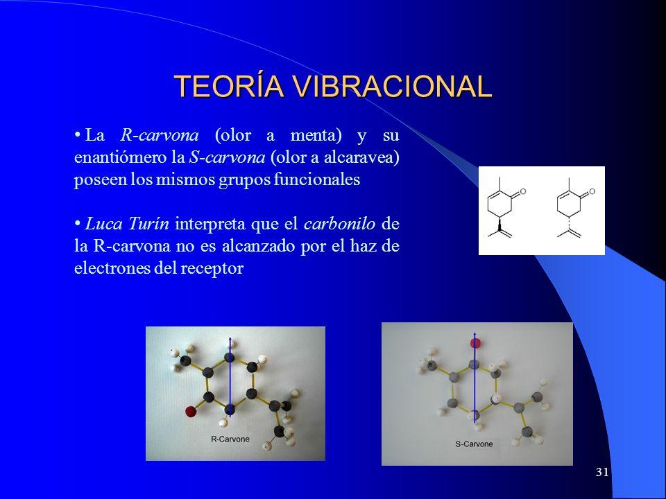 31 TEORÍA VIBRACIONAL La R-carvona (olor a menta) y su enantiómero la S-carvona (olor a alcaravea) poseen los mismos grupos funcionales Luca Turín int