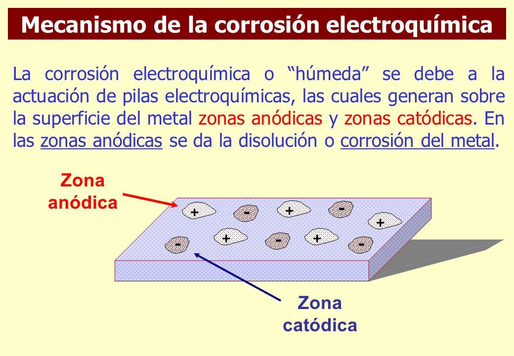 Corrosión húmeda o de mecanismo electroquímico. - Se da en presencia de humedad. - El 80% de los casos de corrosión reportados pertenecen a este tipo.