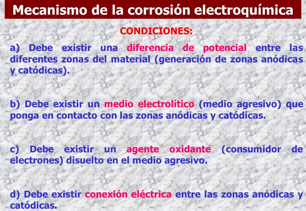 La corrosión electroquímica o húmeda se debe a la actuación de pilas electroquímicas, las cuales generan sobre la superficie del metal zonas anódicas
