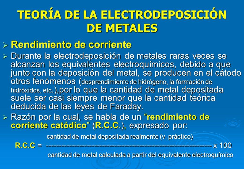 TEORÍA DE LA ELECTRODEPOSICIÓN DE METALES El mecanismo, de las reacciones de electrodo es complejo y consta de una serie de pasos y etapas: El mecanis