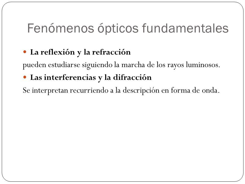 Fenómenos ópticos fundamentales La reflexión y la refracción pueden estudiarse siguiendo la marcha de los rayos luminosos. Las interferencias y la dif
