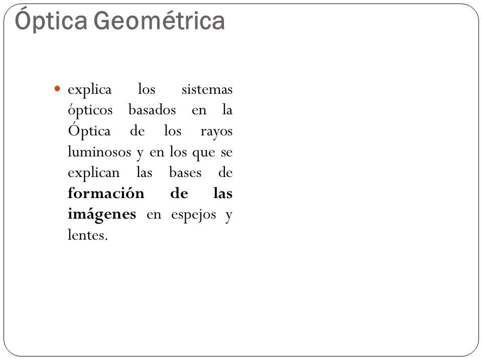 Óptica Geométrica explica los sistemas ópticos basados en la Óptica de los rayos luminosos y en los que se explican las bases de formación de las imág