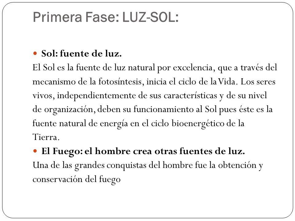 Primera Fase: LUZ-SOL: Sol: fuente de luz. El Sol es la fuente de luz natural por excelencia, que a través del mecanismo de la fotosíntesis, inicia el