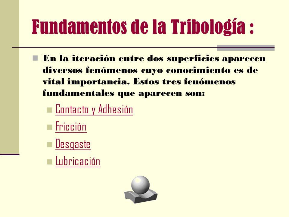 Fundamentos de la Tribología : En la iteración entre dos superficies aparecen diversos fenómenos cuyo conocimiento es de vital importancia. Estos tres