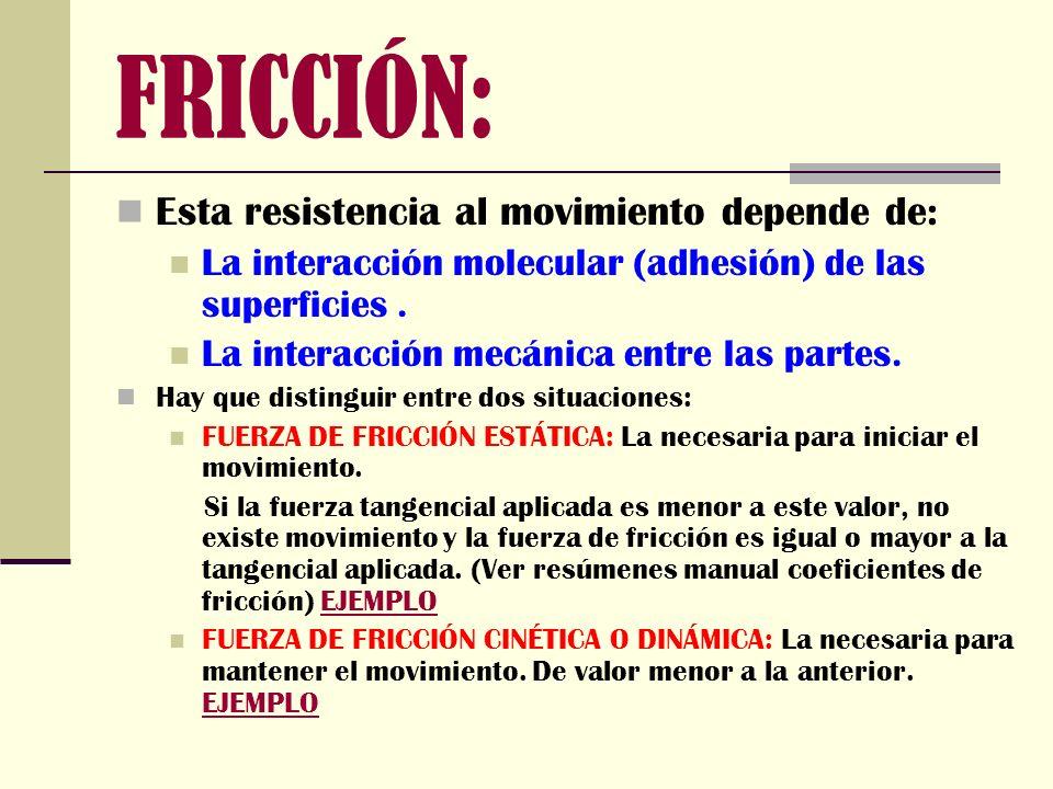 FRICCIÓN: Esta resistencia al movimiento depende de: La interacción molecular (adhesión) de las superficies. La interacción mecánica entre las partes.