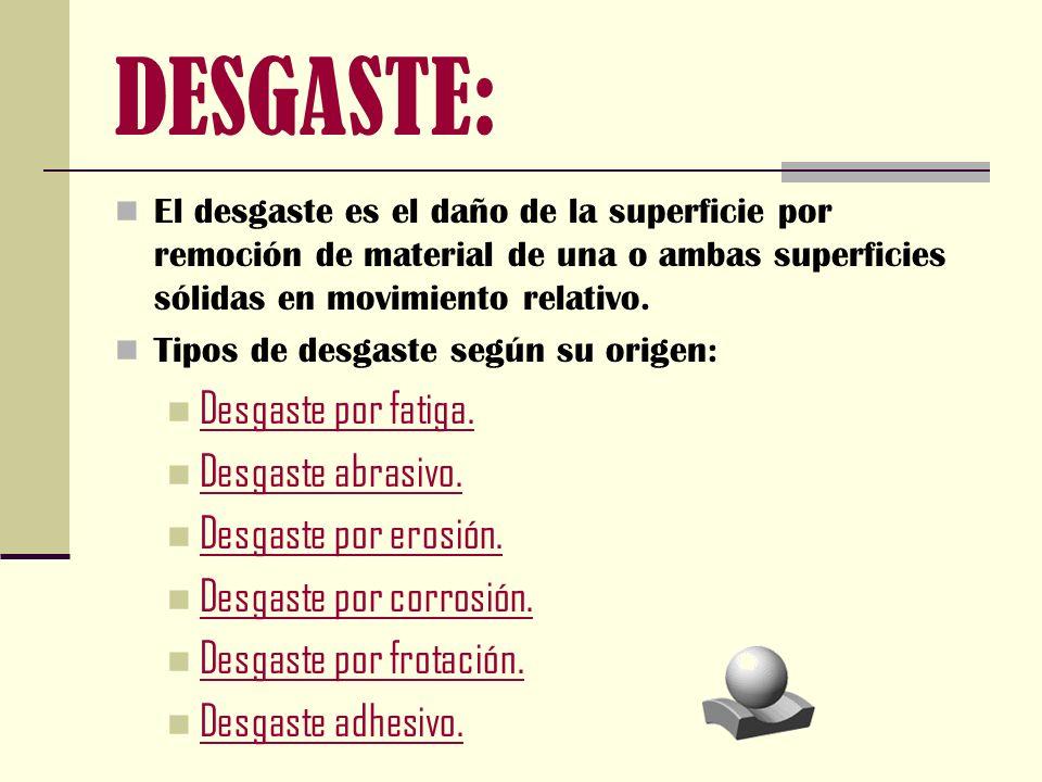 DESGASTE: El desgaste es el daño de la superficie por remoción de material de una o ambas superficies sólidas en movimiento relativo. Tipos de desgast