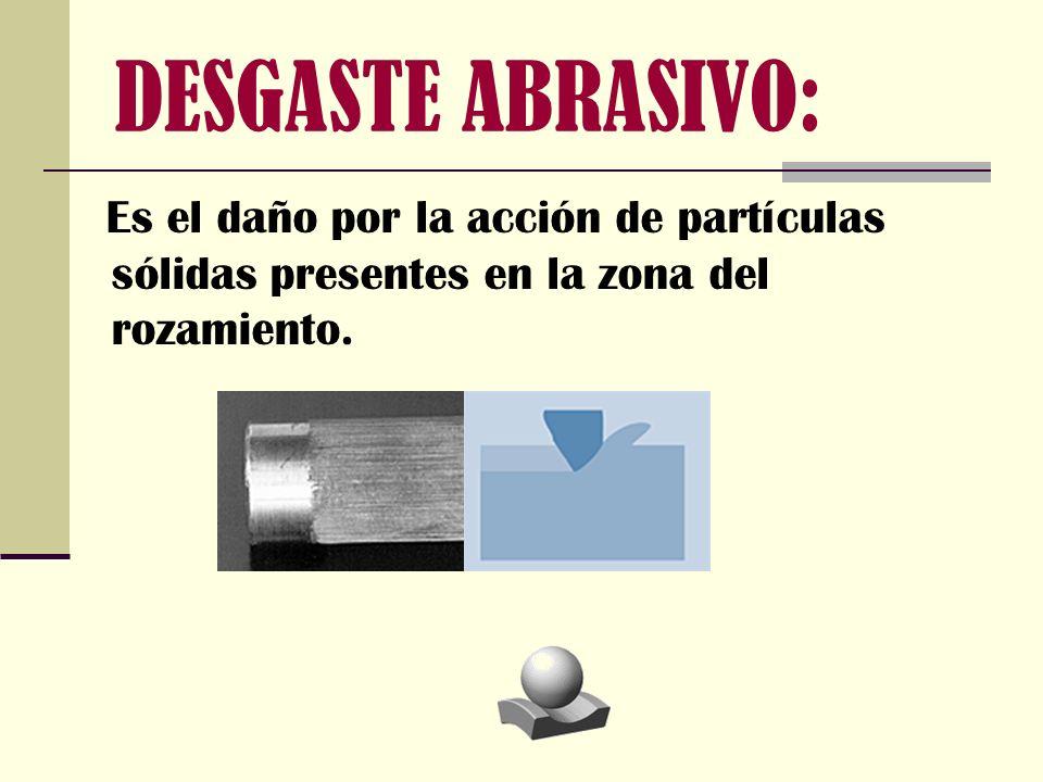 DESGASTE ABRASIVO: Es el daño por la acción de partículas sólidas presentes en la zona del rozamiento.