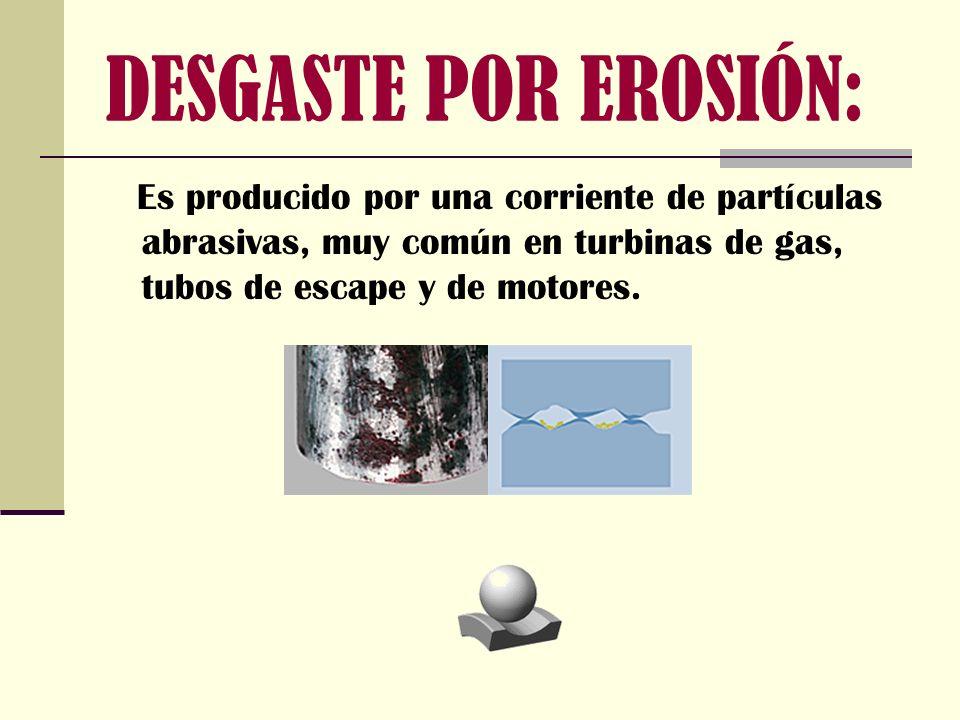 DESGASTE POR EROSIÓN: E s producido por una corriente de partículas abrasivas, muy común en turbinas de gas, tubos de escape y de motores.