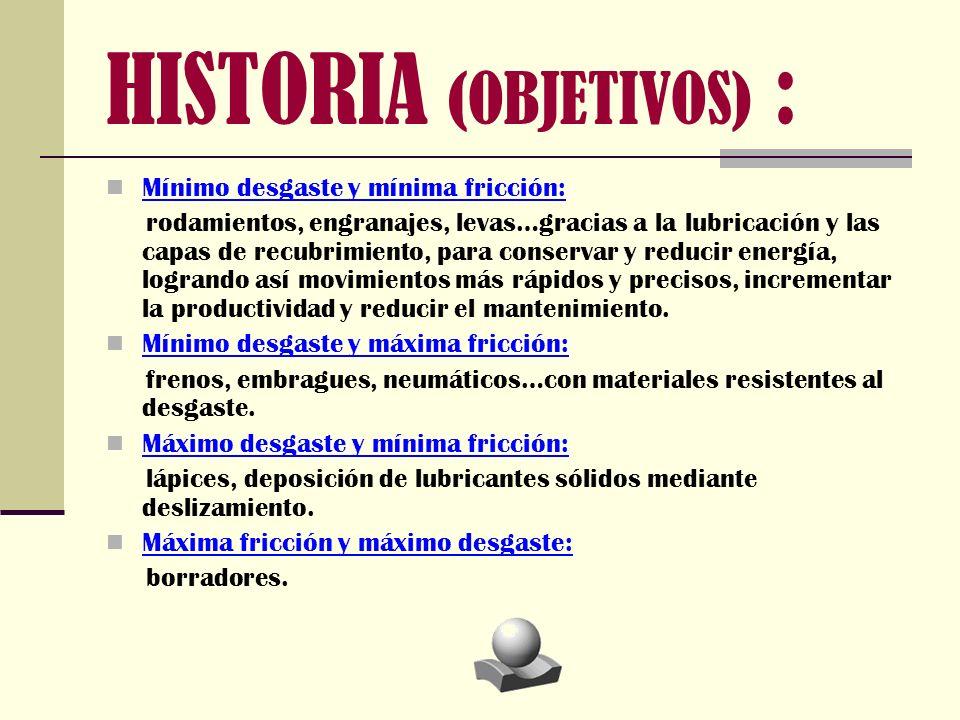 HISTORIA (OBJETIVOS) : Mínimo desgaste y mínima fricción: rodamientos, engranajes, levas…gracias a la lubricación y las capas de recubrimiento, para c