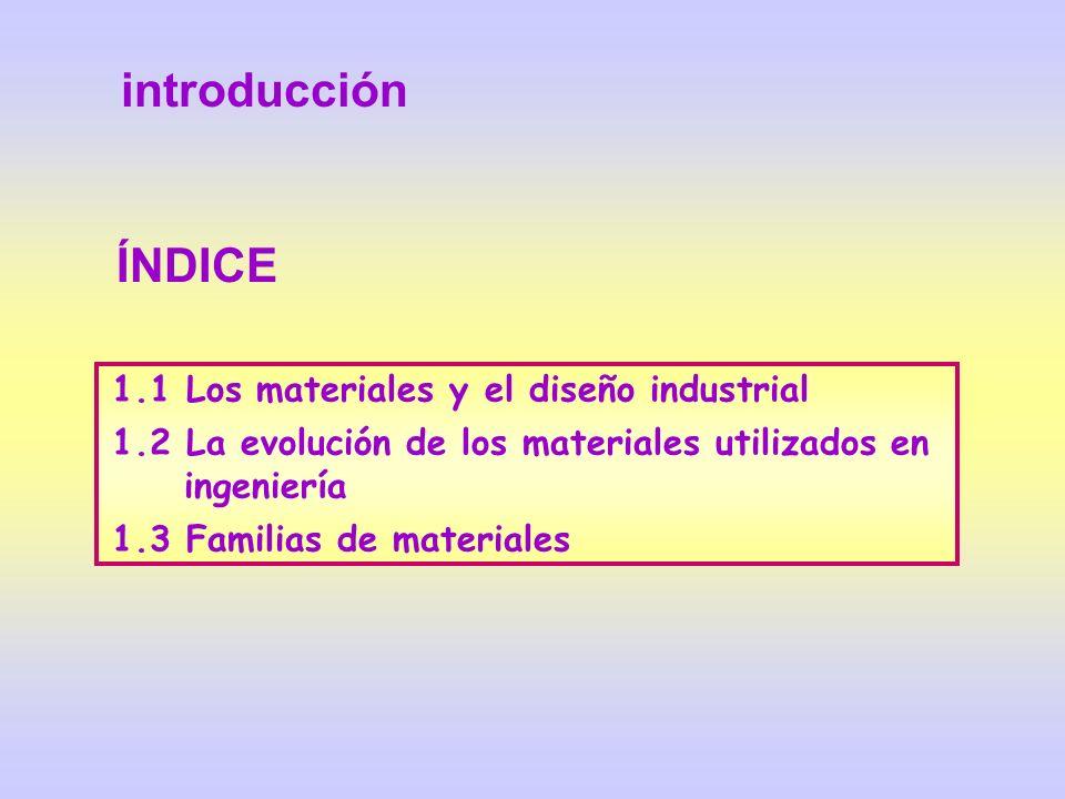 1.1 Los materiales y el diseño industrial 1.2 La evolución de los materiales utilizados en ingeniería 1.3 Familias de materiales ÍNDICE introducción