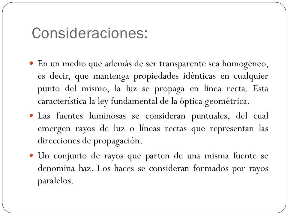 Consideraciones: En un medio que además de ser transparente sea homogéneo, es decir, que mantenga propiedades idénticas en cualquier punto del mismo,