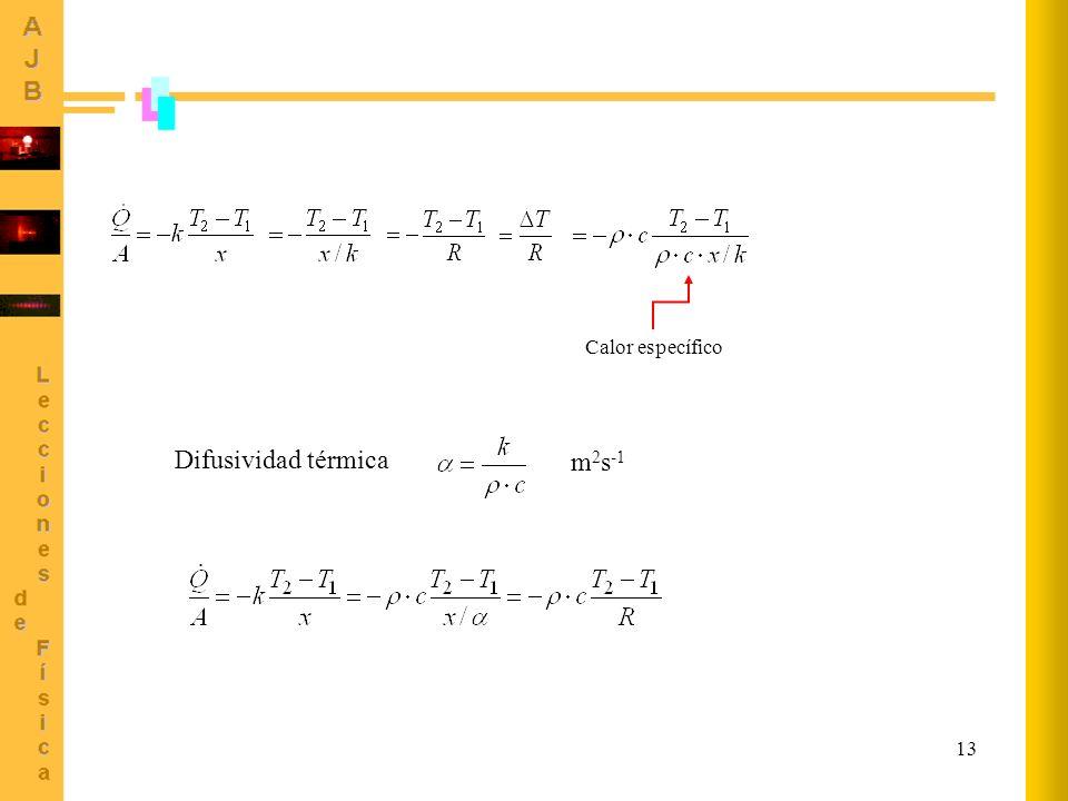 13 Difusividad térmica m 2 s -1 Calor específico
