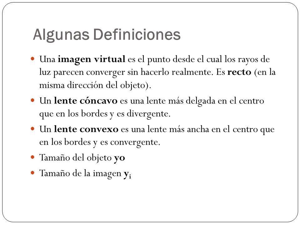 Algunas Definiciones Una imagen virtual es el punto desde el cual los rayos de luz parecen converger sin hacerlo realmente. Es recto (en la misma dire