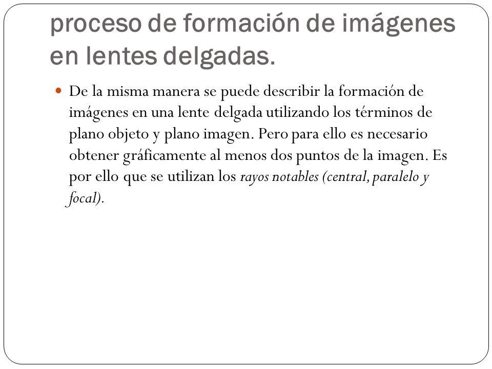 proceso de formación de imágenes en lentes delgadas. De la misma manera se puede describir la formación de imágenes en una lente delgada utilizando lo