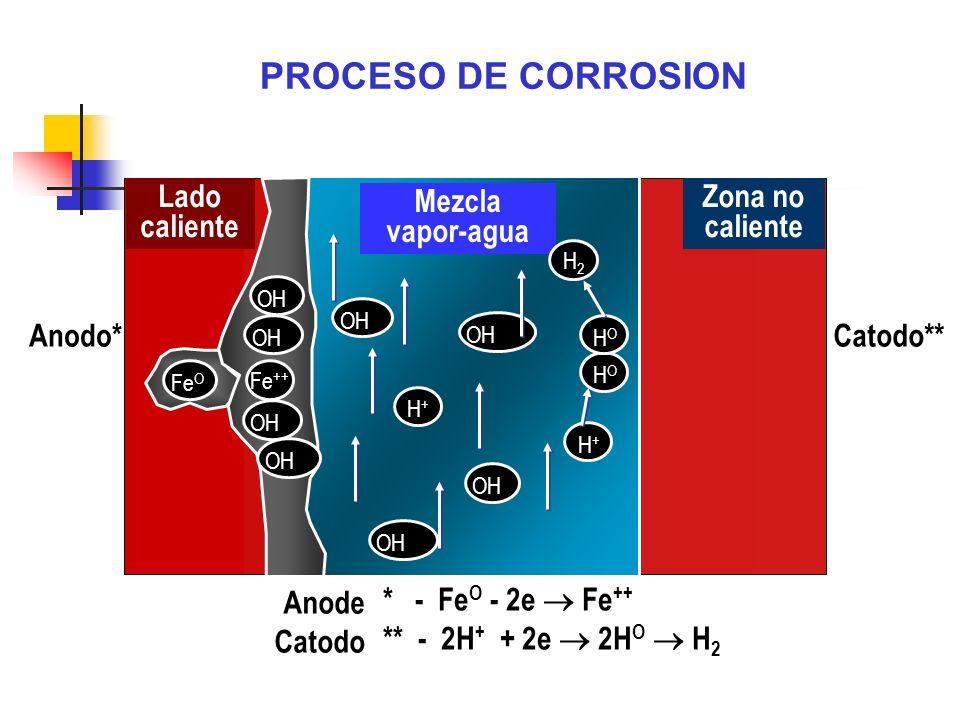Anodo*Catodo** Anode Catodo * - Fe O - 2e Fe ++ ** - 2H + + 2e 2H O H 2 Lado caliente Zona no caliente Mezcla vapor-agua OHFe O OH Fe ++ OH H+H+ H+H+
