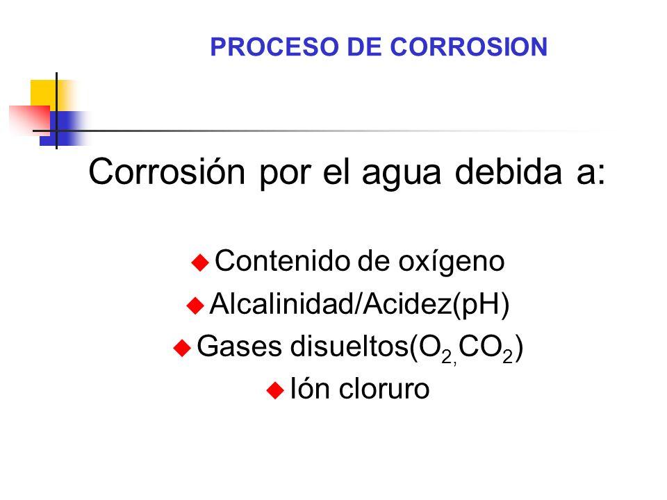 Corrosión por el agua debida a: u Contenido de oxígeno u Alcalinidad/Acidez(pH) u Gases disueltos(O 2, CO 2 ) u Ión cloruro