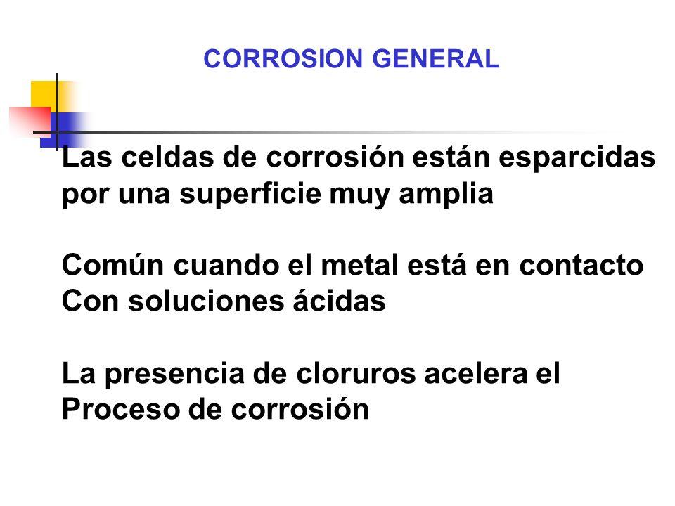 CORROSION GENERAL Las celdas de corrosión están esparcidas por una superficie muy amplia Común cuando el metal está en contacto Con soluciones ácidas