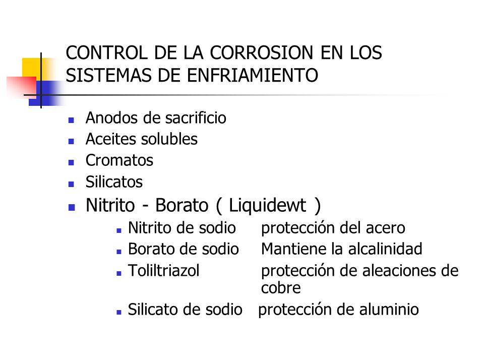 CONTROL DE LA CORROSION EN LOS SISTEMAS DE ENFRIAMIENTO Anodos de sacrificio Aceites solubles Cromatos Silicatos Nitrito - Borato ( Liquidewt ) Nitrit
