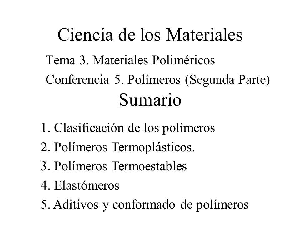 Ciencia de los Materiales Tema 3. Materiales Poliméricos Conferencia 5. Polímeros (Segunda Parte) Sumario 1. Clasificación de los polímeros 2. Polímer
