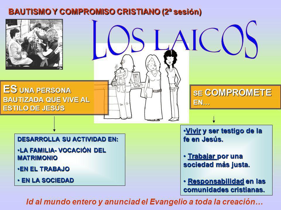 BAUTISMO Y COMPROMISO CRISTIANO (2ª sesión) ES UNA PERSONA BAUTIZADA QUE VIVE AL ESTILO DE JESÚS SE COMPROMETE EN… DESARROLLA SU ACTIVIDAD EN: LA FAMI
