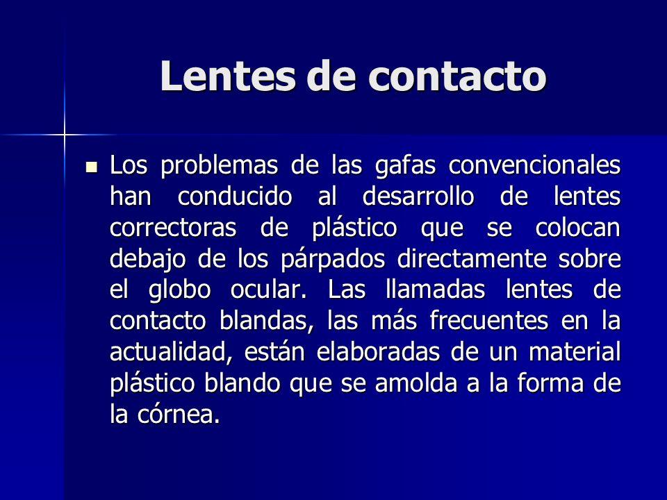 Lentes de contacto Los problemas de las gafas convencionales han conducido al desarrollo de lentes correctoras de plástico que se colocan debajo de lo