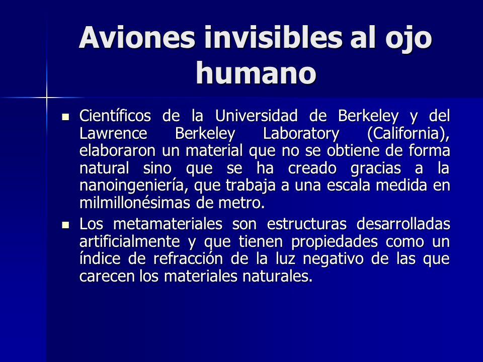Aviones invisibles al ojo humano Científicos de la Universidad de Berkeley y del Lawrence Berkeley Laboratory (California), elaboraron un material que