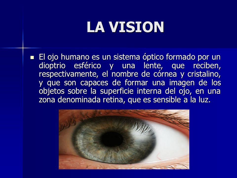 LA VISION El ojo humano es un sistema óptico formado por un dioptrio esférico y una lente, que reciben, respectivamente, el nombre de córnea y cristal
