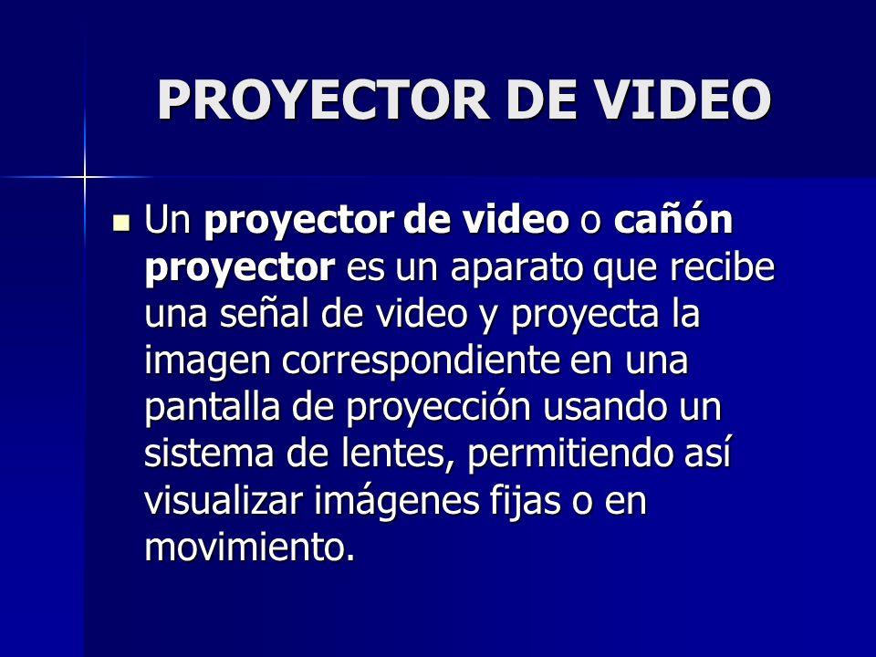 PROYECTOR DE VIDEO Un proyector de video o cañón proyector es un aparato que recibe una señal de video y proyecta la imagen correspondiente en una pan