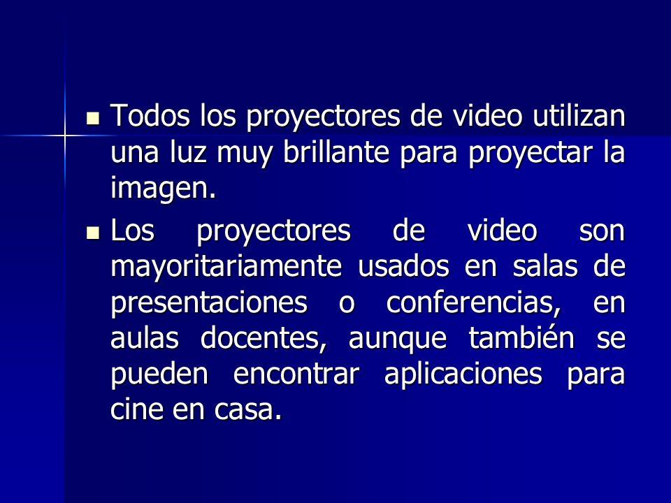 Todos los proyectores de video utilizan una luz muy brillante para proyectar la imagen. Todos los proyectores de video utilizan una luz muy brillante