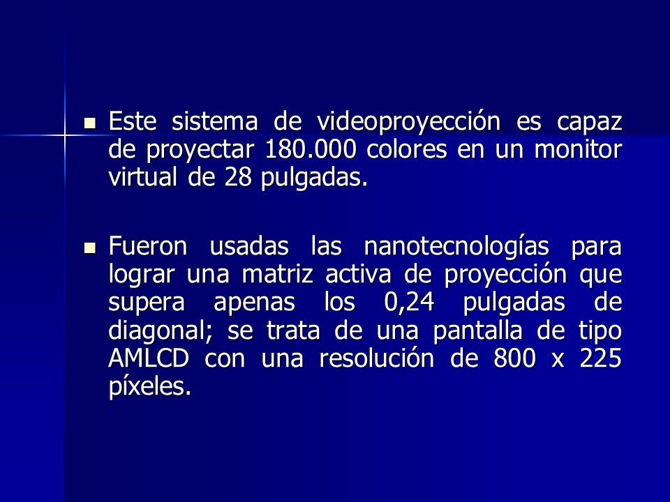 Este sistema de videoproyección es capaz de proyectar 180.000 colores en un monitor virtual de 28 pulgadas. Este sistema de videoproyección es capaz d