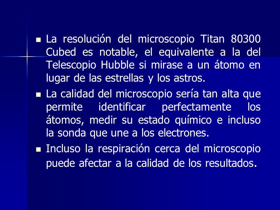 La resolución del microscopio Titan 80300 Cubed es notable, el equivalente a la del Telescopio Hubble si mirase a un átomo en lugar de las estrellas y