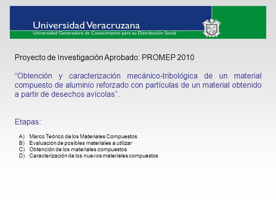 Proyecto de Investigación Aprobado: PROMEP 2010 Obtención y caracterización mecánico-tribológica de un material compuesto de aluminio reforzado con pa