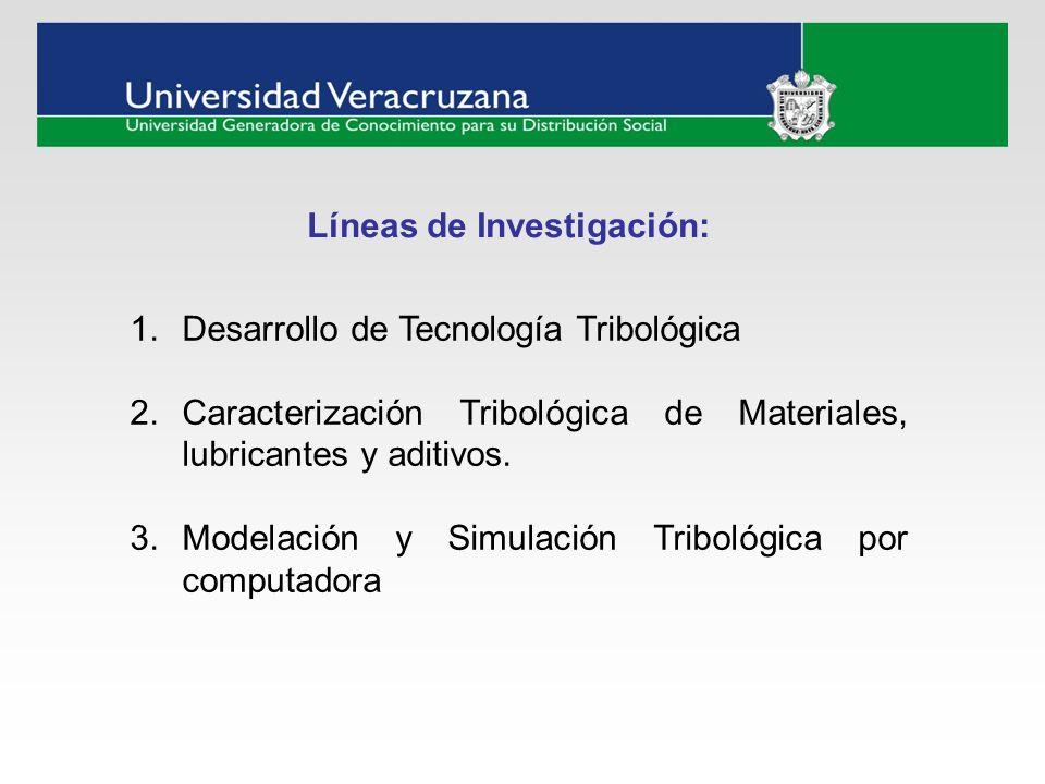 Líneas de Investigación: 1.Desarrollo de Tecnología Tribológica 2.Caracterización Tribológica de Materiales, lubricantes y aditivos. 3.Modelación y Si