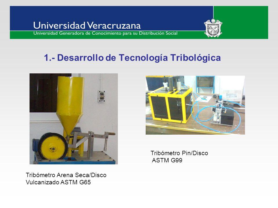 1.- Desarrollo de Tecnología Tribológica Tribómetro Arena Seca/Disco Vulcanizado ASTM G65 Tribómetro Pin/Disco ASTM G99