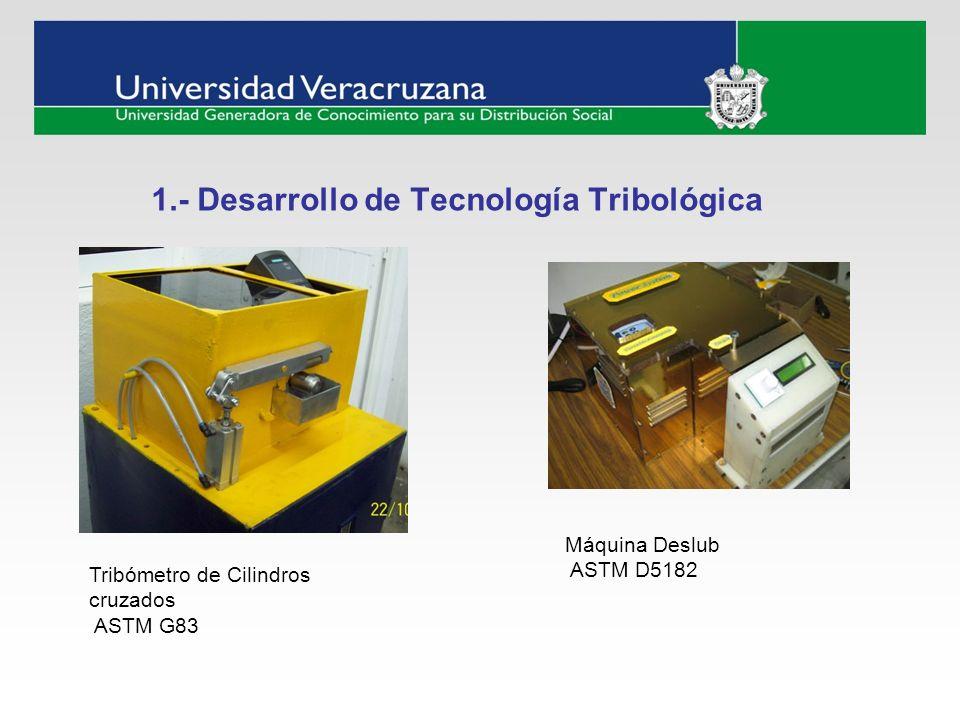 1.- Desarrollo de Tecnología Tribológica Tribómetro de Cilindros cruzados ASTM G83 Máquina Deslub ASTM D5182