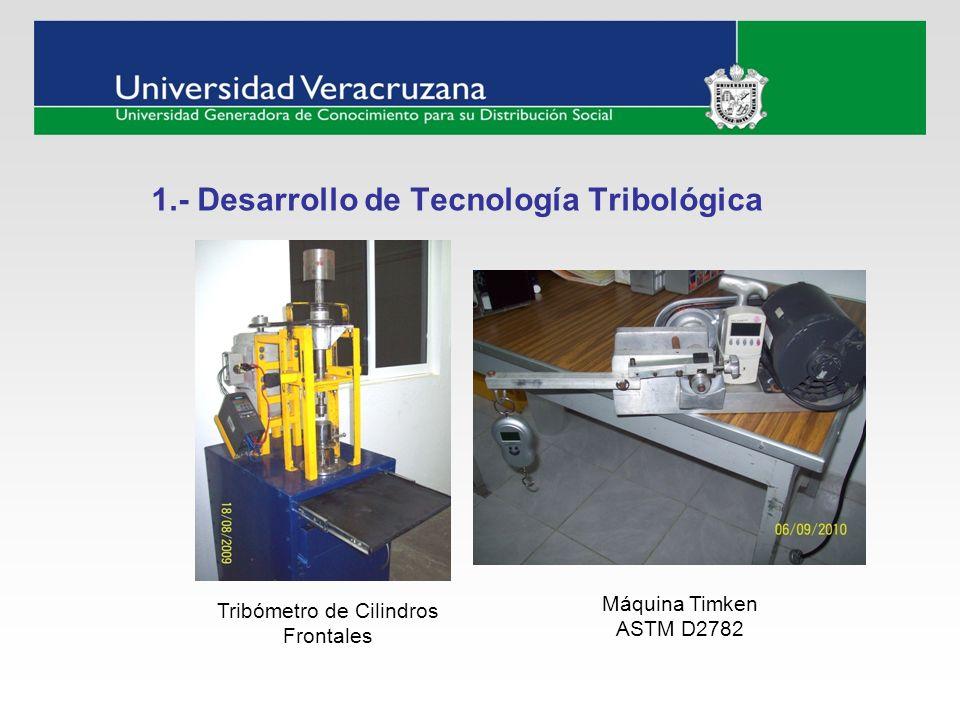 1.- Desarrollo de Tecnología Tribológica Tribómetro de Cilindros Frontales Máquina Timken ASTM D2782
