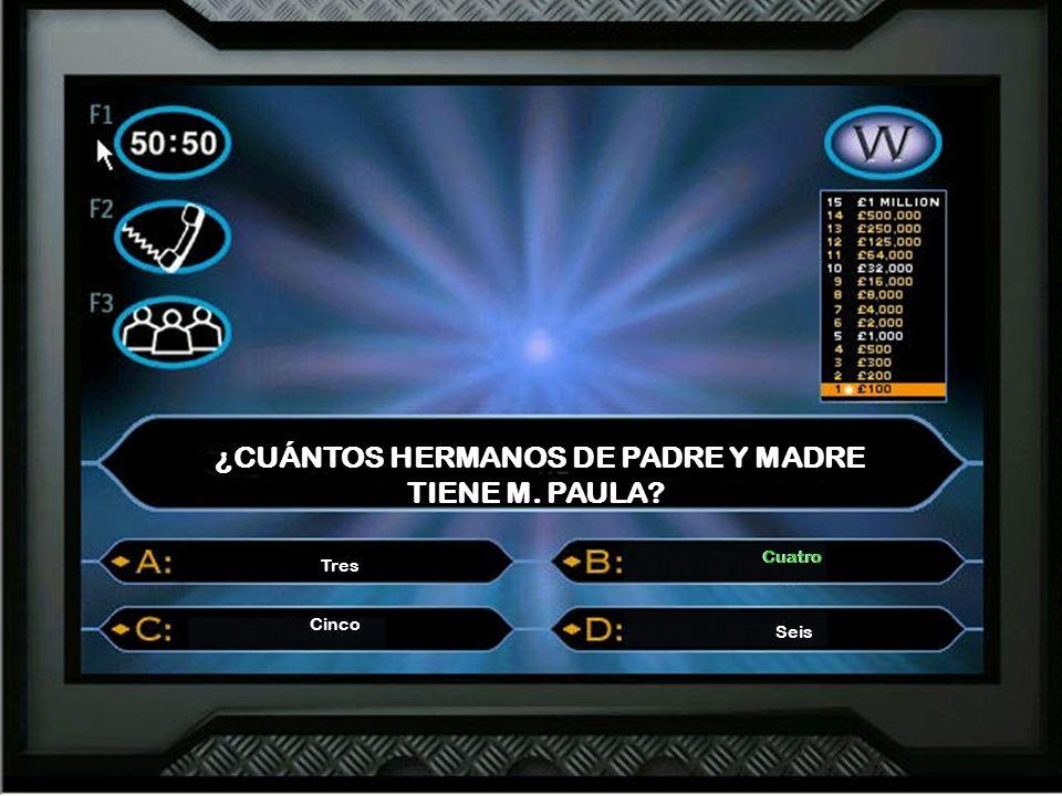 ¿CUÁNTOS HERMANOS DE PADRE Y MADRE TIENE M. PAULA? Tres Cuatro Cinco Seis Cuatro