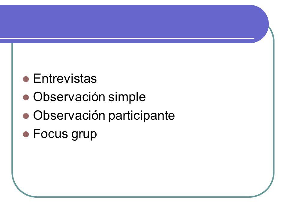 Entrevistas Observación simple Observación participante Focus grup
