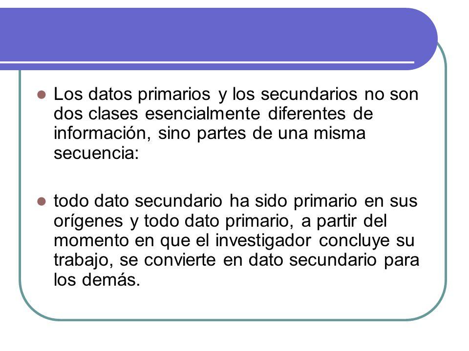 Los datos primarios y los secundarios no son dos clases esencialmente diferentes de información, sino partes de una misma secuencia: todo dato secunda