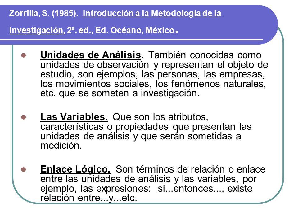 Zorrilla, S. (1985). Introducción a la Metodología de la Investigación, 2ª. ed., Ed. Océano, México. Unidades de Análisis. También conocidas como unid