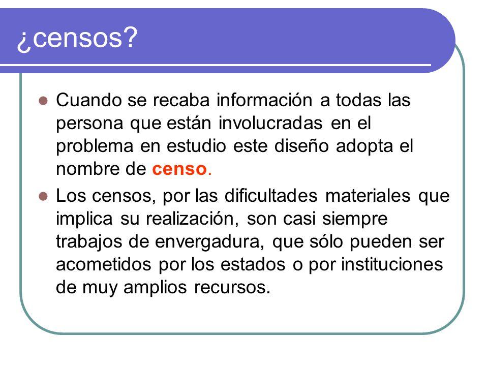 ¿censos? Cuando se recaba información a todas las persona que están involucradas en el problema en estudio este diseño adopta el nombre de censo. Los