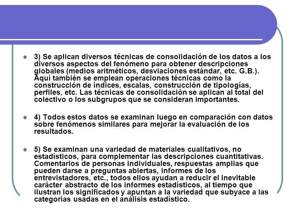 3) Se aplican diversos técnicas de consolidación de los datos a los diversos aspectos del fenómeno para obtener descripciones globales (medios aritmét