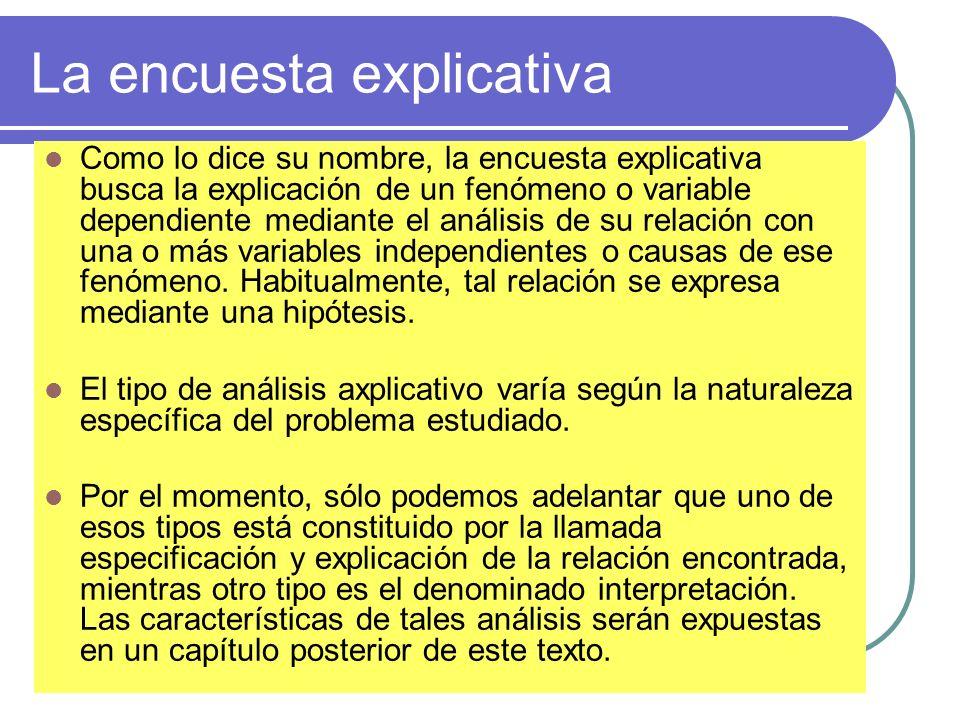 La encuesta explicativa Como lo dice su nombre, la encuesta explicativa busca la explicación de un fenómeno o variable dependiente mediante el análisi