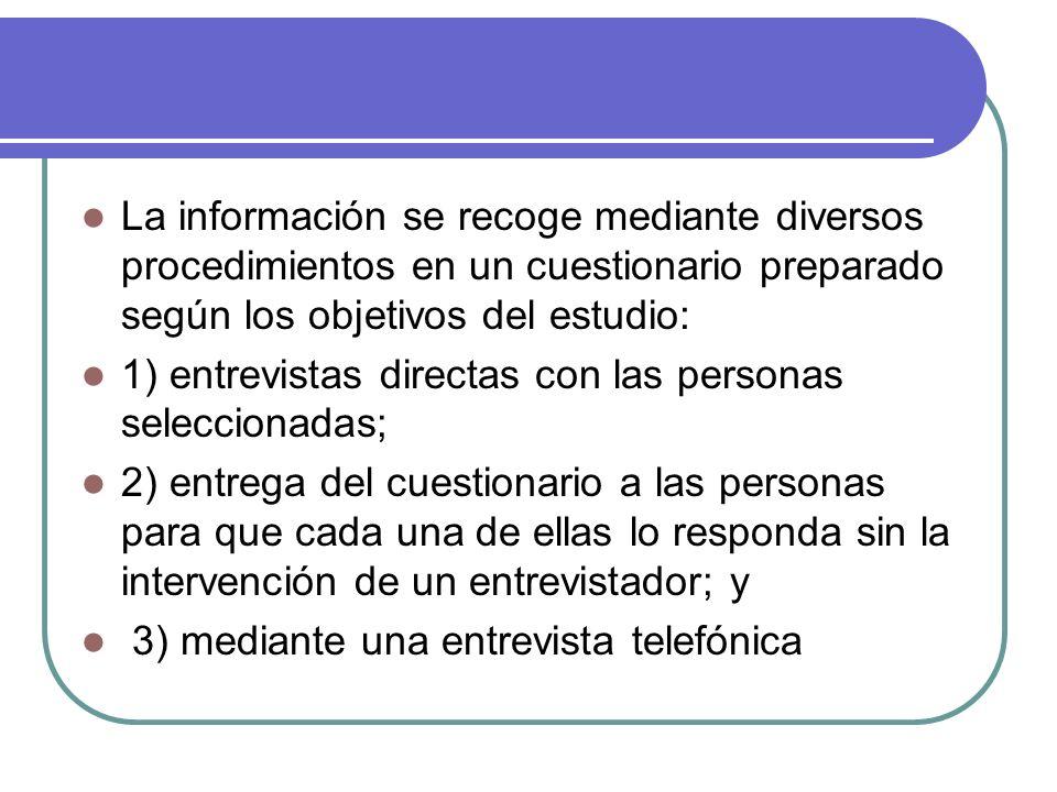 La información se recoge mediante diversos procedimientos en un cuestionario preparado según los objetivos del estudio: 1) entrevistas directas con la