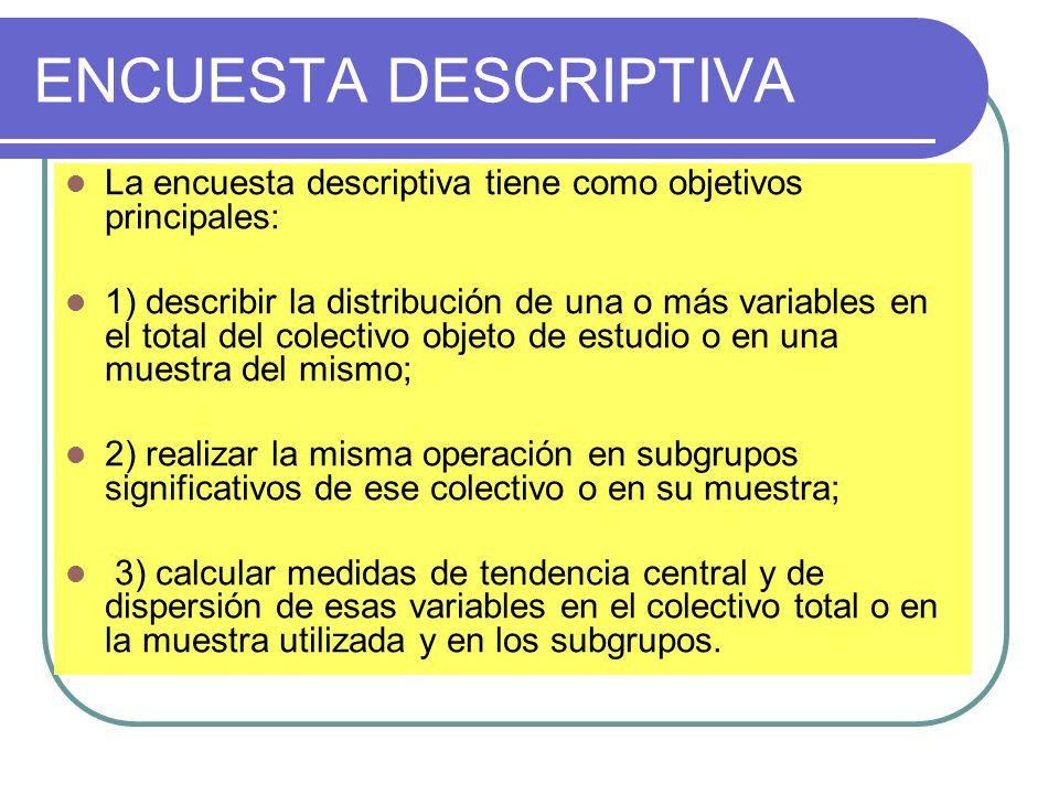 ENCUESTA DESCRIPTIVA La encuesta descriptiva tiene como objetivos principales: 1) describir la distribución de una o más variables en el total del col