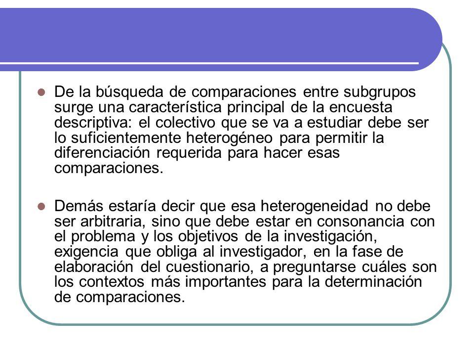 De la búsqueda de comparaciones entre subgrupos surge una característica principal de la encuesta descriptiva: el colectivo que se va a estudiar debe