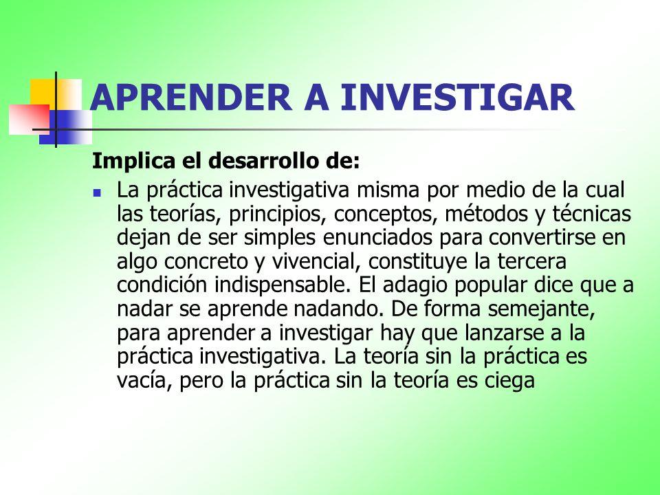 APRENDER A INVESTIGAR Implica el desarrollo de: La práctica investigativa misma por medio de la cual las teorías, principios, conceptos, métodos y téc