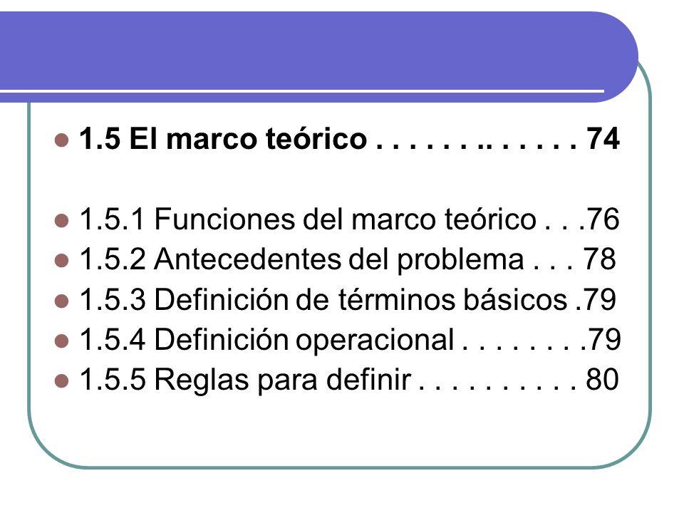 1.5 El marco teórico............. 74 1.5.1 Funciones del marco teórico...76 1.5.2 Antecedentes del problema... 78 1.5.3 Definición de términos básicos